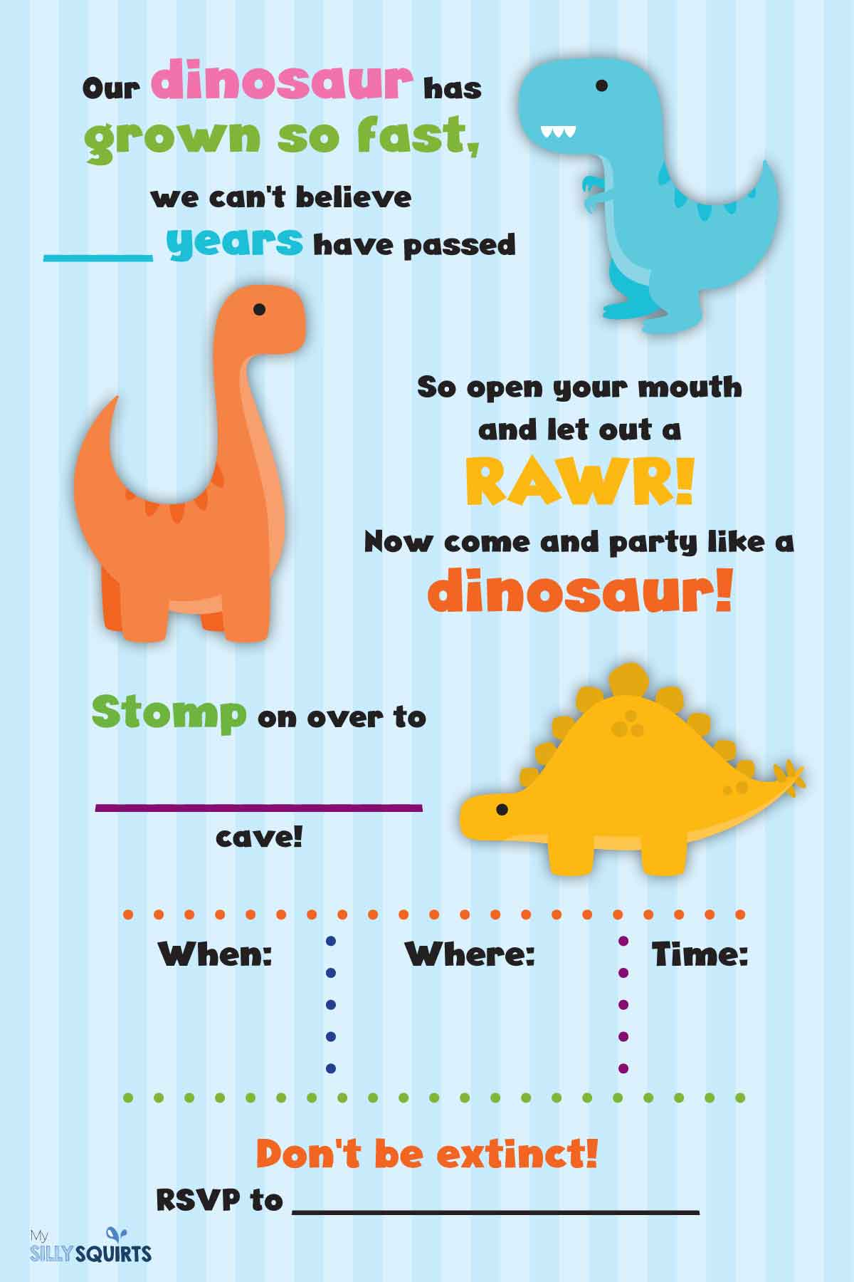 It is a graphic of Légend Dinosaur Party Invitations Free Printable